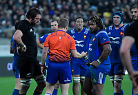 Referee Angus Gardiner talks to team capatains Sam White Lock (left) and Mathieu Bastareaud during the Steinlager Series international rugby match between the New Zealand All Blacks and France at Westpac Stadium in Wellington, New Zealand on Saturday, 16 June 2018. Photo: Dave Lintott / lintottphoto.co.nz