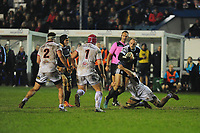 Cory Allen of Ospreys is tackled by Nick Timoney of Ulster during the Guinness Pro14 Round 15 match between the Ospreys and Ulster Rugby at Morganstone Brewery Field in Bridgend, Wales, UK. Friday 15 February 2019