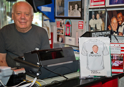 Jeffrey N. Gildenhorn, owner of the American City Diner, 5532 Connecticut Ave, NW; Washington, DC 20015, shows a mock-up of a Trump t-shirt that he will be selling at the diner in Washington, DC on Tuesday, August 11, 2015.<br /> Credit: Ron Sachs / CNP<br /> (RESTRICTION: NO New York or New Jersey Newspapers or newspapers within a 75 mile radius of New York City)