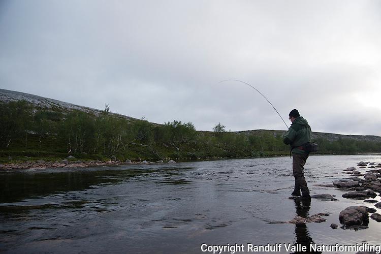 Laksefisker i Skiltkulpen i Børselva. ---- Angler in Børselva.