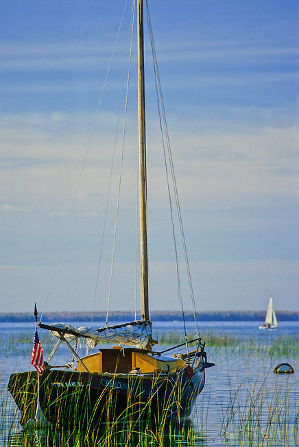 A sailboat lies anchored in the reeds in a bay at Peninsula State Park, Door County, Wisconsin
