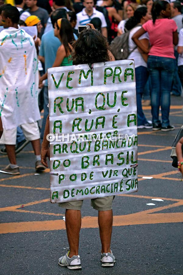 Manifestação Muda Brasil. Movimento Passe Livre, MPL. Rio de Janeiro. 2013. Foto de Rogerio Reis.