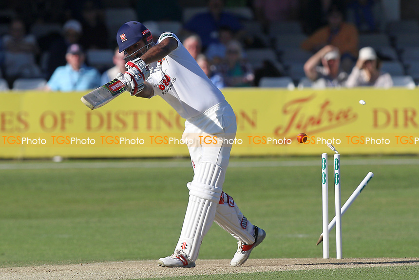 Varun Chopra of Essex is bowled out by Ryan McLaren during Essex CCC vs Lancashire CCC, Specsavers County Championship Division 1 Cricket at The Cloudfm County Ground on 9th April 2017