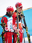 Pyeongchang, Korea, 12/march/2018-Brian McKeever wins gold in the cross country 20km visually impaired race with guide Graham Nishikawa  during the 2018 Paralympic Games in PyeongChang. Photo Scott Grant/Canadian Paralympic Committee.