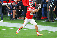 2nd February 2020, Miami Gardens, Florida, USA;   Kansas City Chiefs Tight End Travis Kelce (87) makes a catch as he warms up on the field prior to Super Bowl LIV on February 2, 2020 at Hard Rock Stadium in Miami Gardens