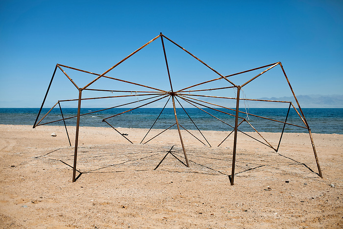 Nuweiba, Sinai, June 2014. Structure of an abandoned beach umbrella.