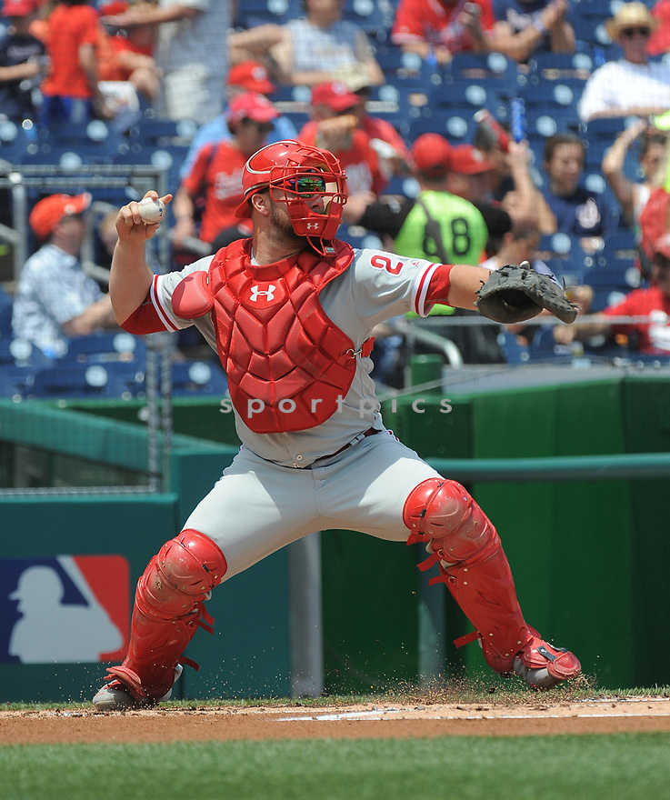 Philadelphia Phillies Cameron Rupp (29) during a game against the Washington Nationals on June 11, 2016 at Nationals Park in Washington, DC. The Nationals beat the Phillies 8-0.