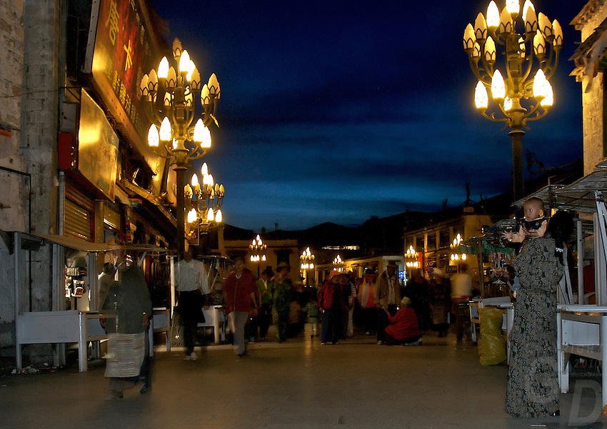 Night Scene. Street life and scenes in Lhasa, Tibet