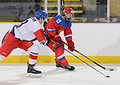 Dawson Creek, BC - Dec 8 2019: Game 3 - Czech Republic vs Russia at the 2019 World Junior A Championship at the ENCANA Event Centre in Dawson Creek, British Columbia, Canada. (Photo by Matthew Murnaghan/Hockey Canada)