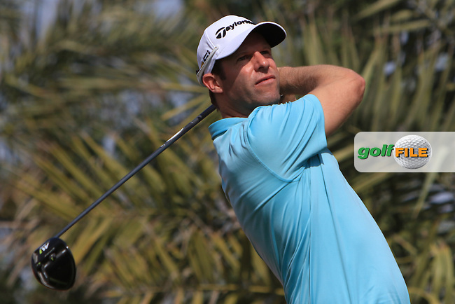 Bradley Dredge (WAL) on the 2nd tee during Round 3 of the Abu Dhabi HSBC Championship on Saturday 21st January 2017.<br /> Picture:  Thos Caffrey / Golffile<br /> <br /> All photo usage must carry mandatory copyright credit    ( &copy; Golffile | Thos Caffrey)
