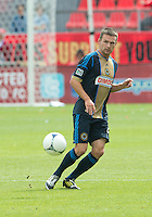 15 September 2012: Philadelphia Union forward Jack McInerney #9 in action during an MLS game between the Philadelphia Union and Toronto FC at BMO Field in Toronto, Ontario..The game ended in a 1-1 draw..