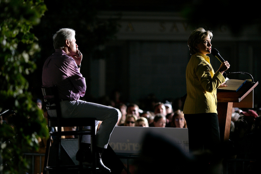 Democratic presidential candidate Senator Hillary Clinton (D-NY) and her husband former President Bill Clinton talk at a campaign event in Portsmouth, New Hampshire on September 2, 2007.<br /> Photo by Brooks Kraft/Corbis