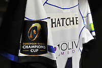 A general view of the European Rugby Champions Cup branding on a matchday jersey. European Rugby Champions Cup quarter final, between Leinster Rugby and Bath Rugby on April 4, 2015 at the Aviva Stadium in Dublin, Republic of Ireland. Photo by: Patrick Khachfe / Onside Images