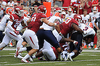 NWA Democrat-Gazette/ANDY SHUPE<br /> Arkansas' DeMarcus Hodge (93) and Bijhon Jackson (78) tackles University of Texas at El Paso's Treyvon Hughes Saturday, Sept. 5, 2015, during the first quarter of play in Razorback Stadium in Fayetteville. Visit nwadg.com/photos to see more from the game.