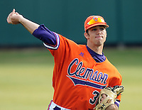 Pitcher Matt Campbell (36) of the Clemson Tigers in a game against the Eastern Michigan Eagles on Friday, Feb. 18, 2011, at Doug Kingsmore Stadium in Clemson, S.C. Photo by Tom Priddy / Four Seam Images