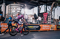 Maglia Ciclamino / points leader Elia Viviani (ITA/Quick Step Floors) escorted to the podium ceremony after the race finish<br /> <br /> stage 21: Roma - Roma (115km)<br /> 101th Giro d'Italia 2018