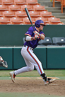 Seth Beer (28) of the Clemson Tigers bats in a fall intrasquad scrimmage on Sunday, October 16, 2016, at Doug Kingsmore Stadium in Clemson, South Carolina. (Tom Priddy/Four Seam Images)