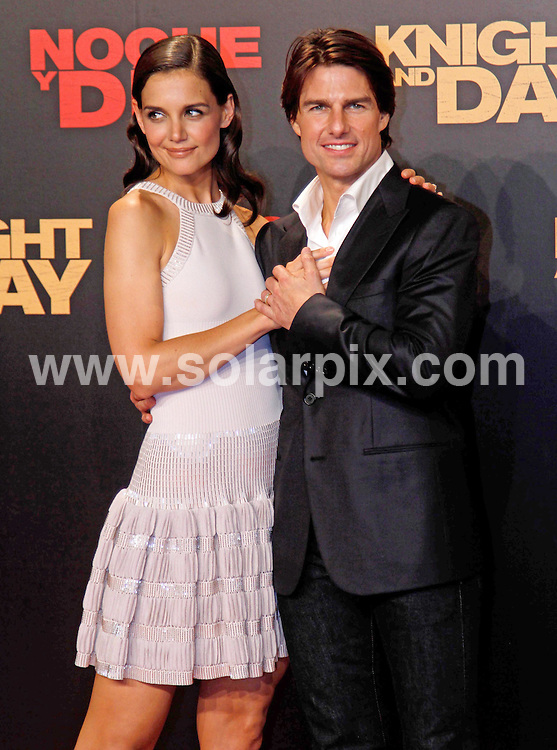 **ALL-ROUND PICTURES FROM SOLARPIX.COM**.**WORLD SYNDICATION RIGHTS EXCEPT BELGIUM, GERMANY, HOLLAND, SCANDINAVIA, SOUTH AMERICA, SPAIN, & USA**.After filming Knight & Day in Spain few months ago, Tom Cruise and Cameron Diaz were back for the world premiere of their movie which was held at the Lope de Vega theatre in Seville...Donning an Armani suit, Cruise came with Katie Holmes who wore head-to-toe Azzedine Alaia whilst Diaz was covered in a mini dress by Lanvin. Seville, Spain. 16 June 2010..This pic: Katie Holmes and Tom Cruise..JOB REF: 11491 SKX      DATE:  16_06_2010.**MUST CREDIT SOLARPIX.COM OR DOUBLE FEE WILL BE CHARGED**.**MUST NOTIFY SOLARPIX OF ONLINE USAGE**.**CALL US ON: +34 952 811 768 or LOW RATE FROM UK 0844 617 7637**