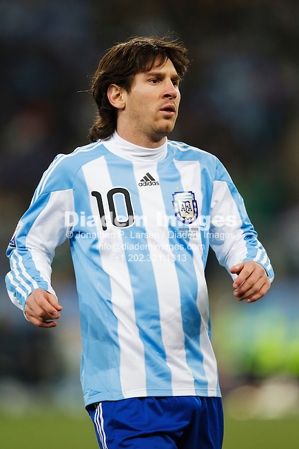 JOHANNESBURG, SOUTH AFRICA - JUNE 27:  Lionel Messi of Argentina in action during the FIFA World Cup round of 16 match against Mexico at Soccer City Stadium on June 27, 2010 in Johannesburg, South Africa.  Editorial use only.  Commercial use prohibited.  No push to mobile device usage.  (Photograph by Jonathan Paul Larsen)