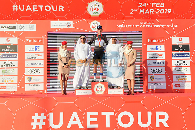 Stepan Kuriyanov (RUS) Gazprom–Rusvelo retains the Black Jersey at the end of Stage 3 of the 2019 UAE Tour, running 179km form Al Ain to Jebel Hafeet, Abu Dhabi, United Arab Emirates. 26th February 2019.<br /> Picture: LaPresse/Massimo Paolone | Cyclefile<br /> <br /> <br /> All photos usage must carry mandatory copyright credit (© Cyclefile | LaPresse/Massimo Paolone)