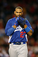 Matt Kemp #27 of the Los Angeles Dodgers during a game against the Los Angeles Angels in both teams final spring training game at Angel Stadium on March 30, 2013 in Anaheim, California. (Larry Goren/Four Seam Images)