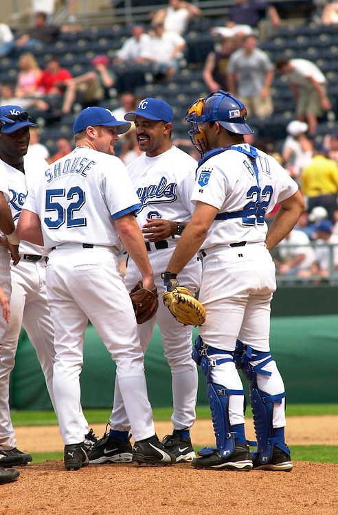 Royals pitcher Brian Shouse is pulled from the game by manager Tony Pena after giving up a home run in the seventh inning at Kauffman Stadium in Kansas City, Missouri on May 16, 2002.  The Minnesota Twins won 14-5.