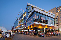 Jerry Remy & Del Frisco, Liberty Wharf restaurants sunset, Boston, MA (Seaport area) (Elkus Manfredi = architects)