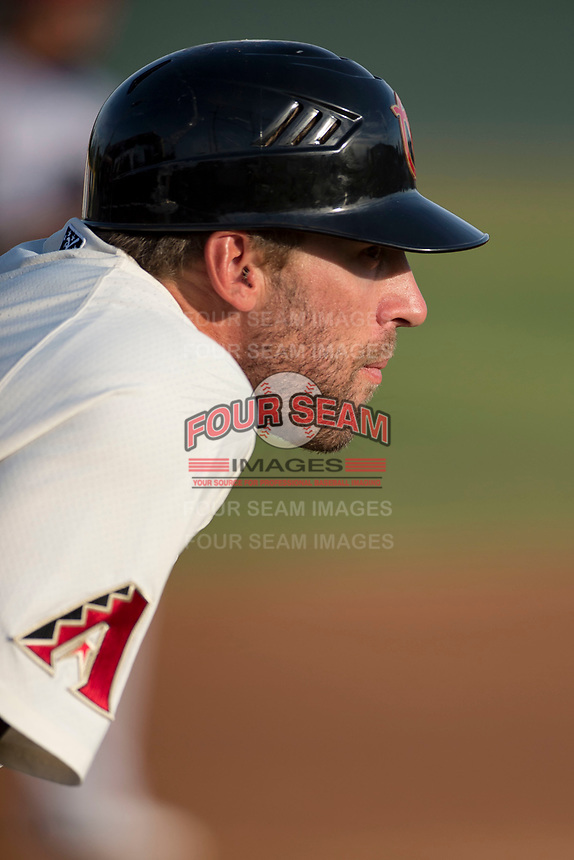 Visalia Rawhide manager Joe Mather (21) coaches third base during a California League game against the Stockton Ports at Visalia Recreation Ballpark on May 8, 2018 in Visalia, California. Stockton defeated Visalia 6-2. (Zachary Lucy/Four Seam Images)