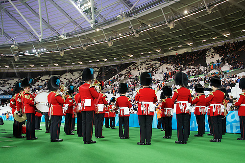 24.09.2015. Olympic Stadium, London, England. Rugby World Cup. New Zealand versus Namibia. The band plays as the stands fill up.