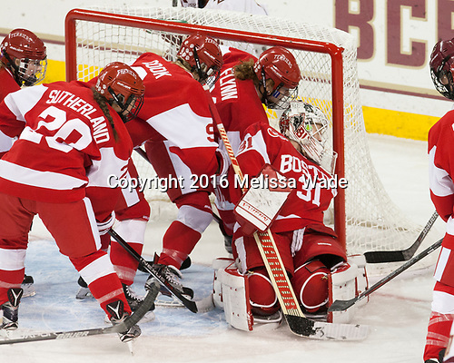 Samantha Sutherland (BU - 20), Abby Cook (BU - 9), Natalie Flynn (BU - 21), Erin O'Neil (BU - 31) - The Boston College Eagles defeated the visiting Boston University Terriers 5-3 (EN) on Friday, November 4, 2016, at Kelley Rink in Conte Forum in Chestnut Hill, Massachusetts.The Boston College Eagles defeated the visiting Boston University Terriers 5-3 (EN) on Friday, November 4, 2016, at Kelley Rink in Conte Forum in Chestnut Hill, Massachusetts.