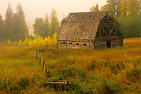 Old barn and fog at sunrise<br />