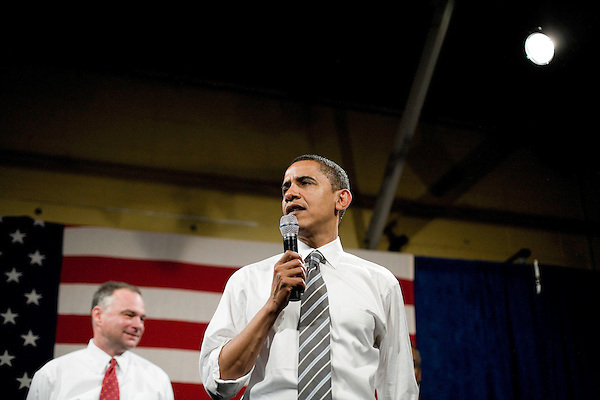 """Tuesday, May 8,  2007. Richmond, VA.. US Presidential candidate and senator Barack Obama, held what was billed as a """"low dollar fundraiser"""" at Plant Zero in Richmond, VA, drawing a crowd of 700 supporters.. He was joined on stage by  Virginia Governor Tim Kaine"""