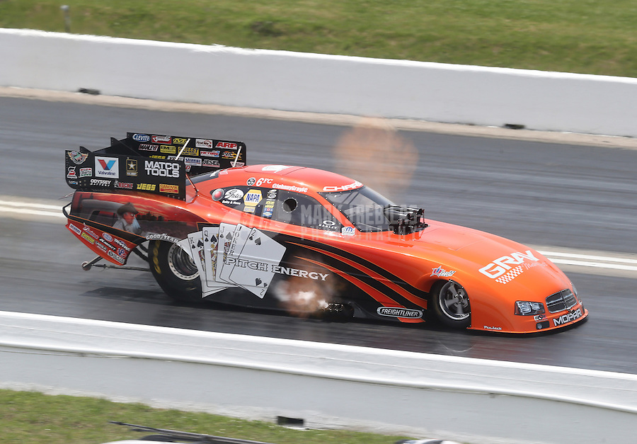 Apr. 28, 2013; Baytown, TX, USA: NHRA funny car driver Johnny Gray during the Spring Nationals at Royal Purple Raceway. Mandatory Credit: Mark J. Rebilas-