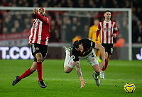Sheffield United's David McGoldrick tangles with Manchester United's Phil Jones <br /> <br /> Photographer Alex Dodd/CameraSport<br /> <br /> The Premier League - Sheffield United v Manchester United - Sunday 24th November 2019 - Bramall Lane - Sheffield<br /> <br /> World Copyright © 2019 CameraSport. All rights reserved. 43 Linden Ave. Countesthorpe. Leicester. England. LE8 5PG - Tel: +44 (0) 116 277 4147 - admin@camerasport.com - www.camerasport.com