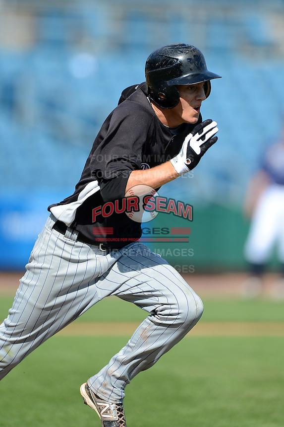 Third baseman Dylan Busby (2) of Sarasota High School in Sarasota, Florida playing for the Colorado Rockies scout team during the East Coast Pro Showcase on August 2, 2013 at NBT Bank Stadium in Syracuse, New York.  (Mike Janes/Four Seam Images)
