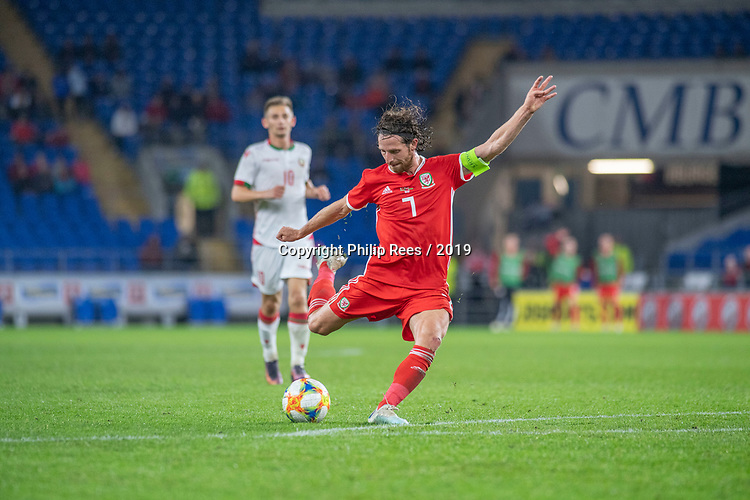 Cardiff - UK - 9th September :<br />Wales v Belarus Friendly match at Cardiff City Stadium.<br />Wales Captain Joe Allen has a shot towards the Belarus goal.<br />Editorial use only