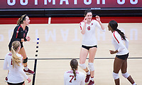 STANFORD, CA - November 4, 2018: Michaela Keefe, Tami Alade, Mackenzie Fidelak, Jenna Gray, Morgan Hentz at Maples Pavilion. No. 2 Stanford Cardinal defeated the Utah Utes 3-0.