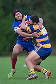 Riley Hohepa and Ray Laulala collide in the midfield. Counties Manukau Premier Club Rugby game between Patumahoe and Ardmore Marist, played at Patumahoe on Saturday July 9th 2016.<br /> Ardmore Marist won the game 33 - 24 after leading 18 - 12 at halftime. Photo by Richard Spranger.