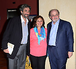 MIAMI, FL - SEPTEMBER 26: (R-L) Author Salman Rushdie, guest and Mitchell Kaplan presents and sign copies of His new Book 'Joseph Anton: A Memoir' presented by Books and Books at Chapman Conference Center at Miami Dade College on September 26, 2013 in Miami, Florida. (Photo by Johnny Louis/jlnphotography.com)