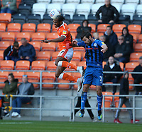 Blackpool's Nathan Delfouneso beats Rochdale's Joe Rafferty to the ball<br /> <br /> Photographer Stephen White/CameraSport<br /> <br /> The EFL Sky Bet League One - Blackpool v Rochdale - Saturday 6th October 2018 - Bloomfield Road - Blackpool<br /> <br /> World Copyright © 2018 CameraSport. All rights reserved. 43 Linden Ave. Countesthorpe. Leicester. England. LE8 5PG - Tel: +44 (0) 116 277 4147 - admin@camerasport.com - www.camerasport.com