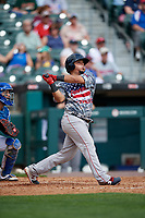 Pawtucket Red Sox Juan Centeno (2) at bat during an International League game against the Buffalo Bisons on August 25, 2019 at Sahlen Field in Buffalo, New York.  Buffalo defeated Pawtucket 5-4 in 11 innings.  (Mike Janes/Four Seam Images)