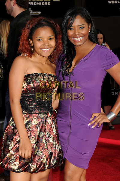 "SHAR JACKSON (R) & DAUGHTER .""Iron Man 2"" World Premiere held at the El Capitan Theatre, Hollywood, California, USA, 26th April 2010..arrivals half length purple dress family hand on hip mom mum mother hand on hip smiling .CAP/ADM/BP.©Byron Purvis/AdMedia/Capital Pictures."