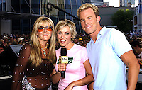 Jaime O'Neal w/ Greg Martain and Katie Cook of CMT at the first ever CMT Flameworthy Video Music Awards at the Gaylord Entertainment Center in Nashville Tennesee. 6/12/02<br /> Photo by Rick Diamond/PictureGroup