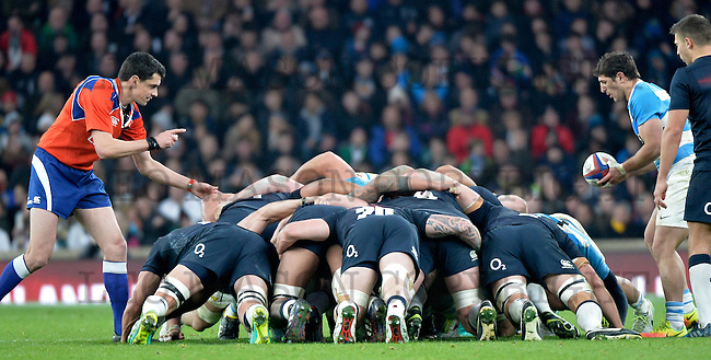 26.11.2016 Old Mutual Wealth Series International Rugby England Vs Argentina at RFU Twickenham Stadium UK Action from the match which was won by England 27-14<br /> I
