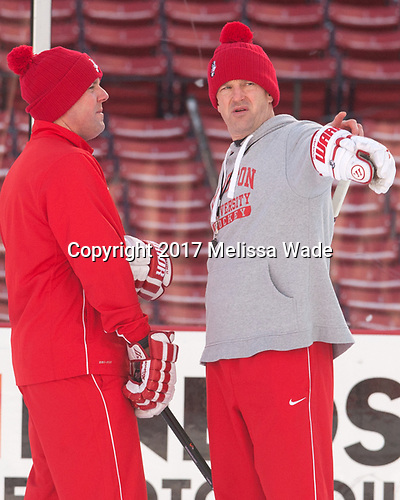 Albie O'Connell (BU - Associate Head Coach), Scott Young (BU - Assistant Coach) - The Boston University Terriers practiced on the rink at Fenway Park on Friday, January 6, 2017.The Boston University Terriers practiced on the rink at Fenway Park on Friday, January 6, 2017.
