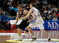 Brose's Anton Gavel and Real Madrid's Jeycee Carroll  during Euroliga match. February 28,2013.(ALTERPHOTOS/Alconada)