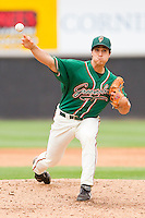 Relief pitcher Michael Brady #46 of the Greensboro Grasshoppers in action against the Hickory Crawdads at L.P. Frans Stadium on May 18, 2011 in Hickory, North Carolina.   Photo by Brian Westerholt / Four Seam Images