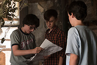 It (2017)<br /> FINN WOLFHARD as Richie Tozier, JAEDEN LIEBERHER as Bill Denbrough and JACK DYLAN GRAZER as Eddie Kaspbrak<br /> *Filmstill - Editorial Use Only*<br /> CAP/KFS<br /> Image supplied by Capital Pictures
