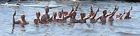 SKUTSJESILEN: DE VEENHOOP: 20-07-2013, SKS skûtsjesilen, afgelast wegens te weinig wind, publiek zoekt verkoeling, ©foto Martin de Jong