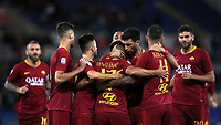 Football, Serie A: AS Roma - Frosinone, Olympic stadium, Rome, 26 September 2018. <br /> Roma's Cengiz Under (c) celebrates after scoring with his teammates during the Italian Serie A football match between AS Roma and Frosinone at Olympic stadium in Rome, on September 26, 2018.<br /> UPDATE IMAGES PRESS/Isabella Bonotto